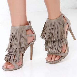 Steve Madden Fringly Taupe Suede Leather Sandals